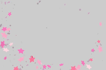 Starry Confetti. Pink random confetti background. Bright design template. Vector pattern with pink stars. Suitable for your design, cards, invitations, gift, VIP. Illustration