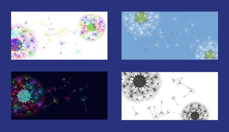 Dandelion background for your design. Set from different four backgrounds. The wind blows dandelion seeds. Floral background. Advertising flyer brochure. Vector template. Ilustracja