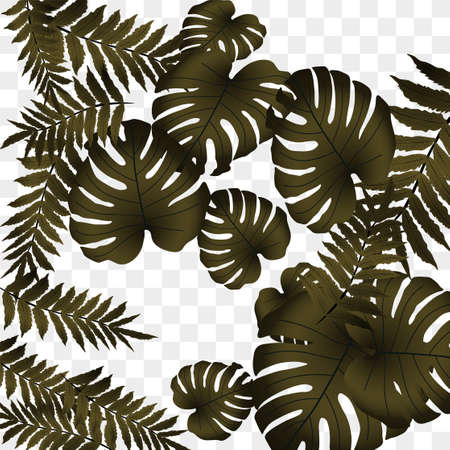 Vector tropical pattern, bright tropical foliage, monstera leaves. Modern bright summer print design from thickets of tropical leaves from the jungle.