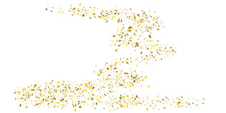 Golden glitter confetti on a white background. Illustration of a drop of shiny particles. Decorative element. Luxury background for your design, cards, invitations, gift, vip. Vektorové ilustrace