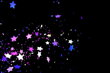 Starry Confetti. Shooting star background. Random stars shine on a black background. Dark sky in shining blue, pink, green, purple colors. Suitable for your design, cards, invitations, gifts. Foto de archivo - 151331784