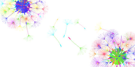 Dandelion background for your design. The wind blows dandelion seeds. Floral background. Advertising flyer brochure. Vector template.