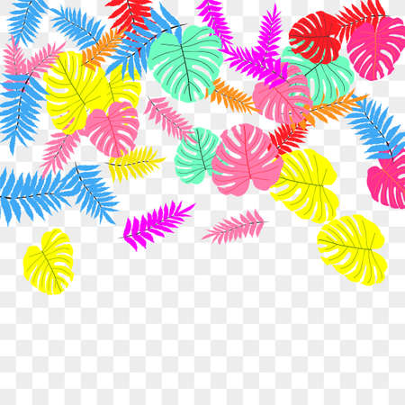 Vector tropical pattern, bright tropical foliage, monstera leaves. Modern bright summer print design of thickets of tropical leaves from the jungle.
