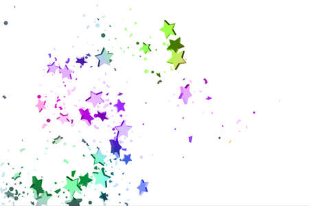 Starry Confetti. Falling star background. Random stars shine on a white background in blue, pink, green, violet, yellow. Suitable for your design, cards, invitations, gifts.