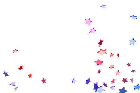 Abstract confetti flying star. Shooting star background. Random stars shine on a white background. White background with blue and red stars. Suitable for your design, cards, invitations, gifts. Ilustração