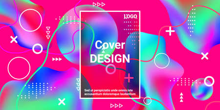 Vintage  design poster 3d, great design for any purposes.  Bright smooth mesh is blurred by a futuristic pattern in pink, blue, green, yellow, purple tones.  Minimal geometric cover.