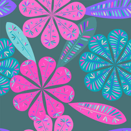Nice floral pattern. Botanical seamless pattern.  Spring decoration. Vector illustration isolated. Abstract vector background.
