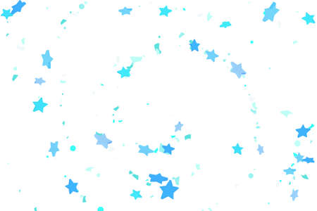 Starry Confetti. Blue random confetti background. Bright design template. Vector pattern with blue stars. Suitable for your design, cards, invitations, gift, VIP. Vettoriali