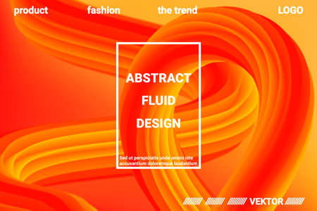 Abstract 3d cover with bright gradient. Abstract liquid fluid color shape. Creative vector concept.  Modern graphic texture. Vector 3d illustration. Vettoriali
