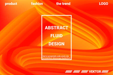 Abstract 3d cover with bright gradient. Abstract liquid fluid color shape. Futuristic concept.  Modern graphic texture. Vector 3d illustration.