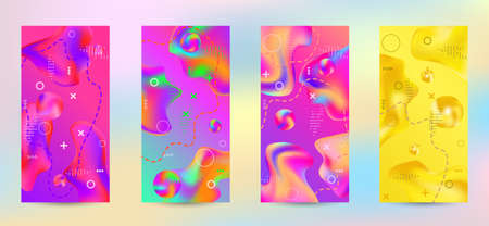 Minimum vector coverage. A set of modern abstract covers. A bright smooth grid is blurred by a futuristic pattern in pink, blue, green, yellow, purple. Vettoriali