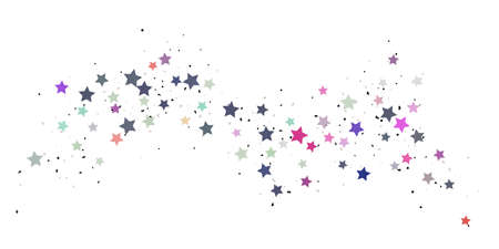 Starry Confetti. Multicolored random stars confetti background. Bright design template. Vector pattern with colored stars. Suitable for your design, cards, invitations, gift, VIP.