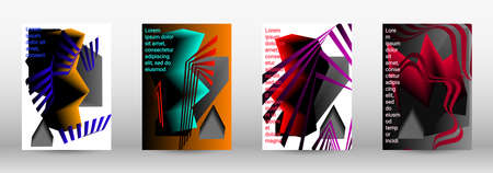 Modern design template. A set of modern abstract covers. Trendy cover design of curved lines, geometric shapes. Vector illustration. EPS 10.