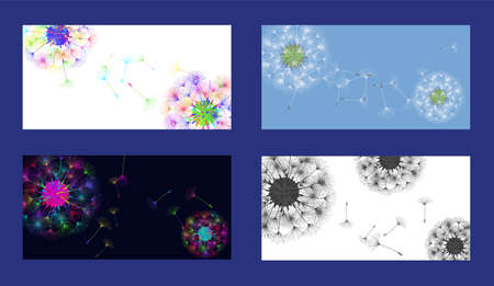 Dandelion background for your design. Set from different four backgrounds. The wind blows dandelion seeds. Natural background. Brochure creative design. Vector template. Vettoriali