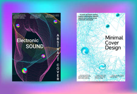 Set of covers for design. Line art banner. Isolated vector illustration vector music background. Business brochure template. Geometric print. Abstract vector background.