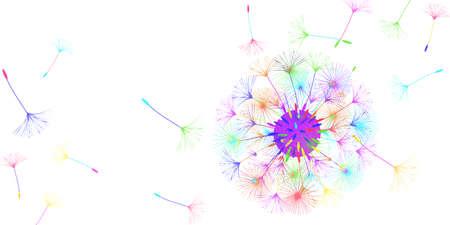 Dandelion background for your design. The wind blows dandelion seeds. Natural background. Brochure creative design. Vector template. Ilustração