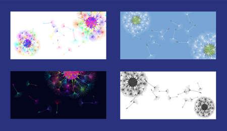 Dandelion background for your design. Set from different four backgrounds. The wind blows dandelion seeds. Natural background. Brochure creative design. Vector template. Ilustração