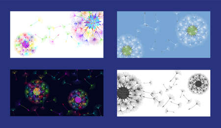 Dandelion background for your design. Set from different four backgrounds. The wind blows dandelion seeds. Floral background. Advertising flyer brochure. Vector template. Ilustração