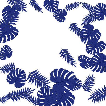 Vector tropical pattern, bright tropical foliage, monstera leaves. Modern bright summer print design of thickets of tropical leaves from the jungle. Vector Illustration