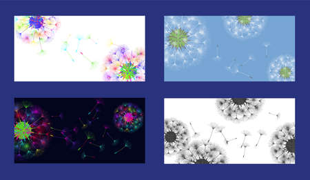 Dandelion background for your design. Set from different four backgrounds. The wind blows dandelion seeds. Floral background. Brochure creative design. Vector template.