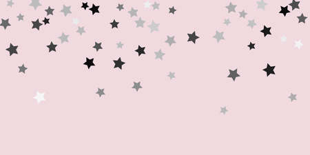 Confetti star. Falling stars on a delicate pink background. Flying stars illustration. Decorative element. Suitable for your design, postcards, invitations, gift, VIP. 矢量图像