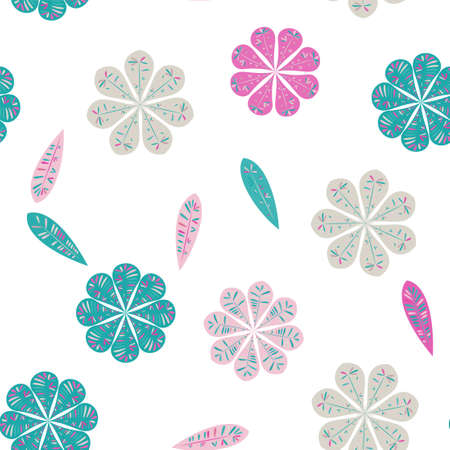 Beautiful abstract seamless pattern. Vector seamless floral pattern. Spring decoration. Vector illustration isolated. Abstract vector background. Ilustración de vector