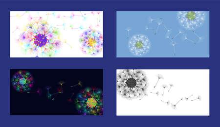 Dandelion background for your design. Set from different four backgrounds. The wind blows dandelion seeds. Natural background. Brochure creative design. Vector template. Illusztráció