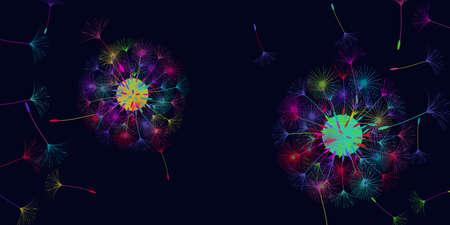 Dandelion background for your design. The wind blows dandelion seeds. Natural background. Brochure creative design. Vector template. Illusztráció