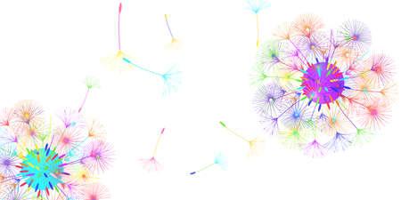 Dandelion background for your design. The wind blows dandelion seeds. Floral background. Advertising flyer brochure. Vector template. Illusztráció