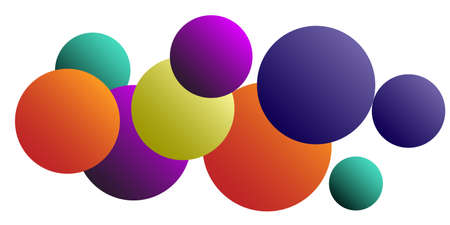 Trendy abstract business card with gradients of balls shapes on background. Multicolored balls for design 3D illustration. Abstract geometric background design.