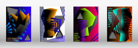 Minimum vector coverage. A set of modern abstract covers. Trendy cover design of curved lines, geometric shapes. Vector illustration. EPS 10.