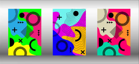 Modern memphis background set covers, great design for any purposes. Trendy abstract vector illustration. Brochure creative design. Creative vector banner illustration. Иллюстрация