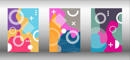 Modern memphis background set covers, great design for any purposes. Colorful trendy illustration.  Colorful geometric background design. Creative vector banner illustration.