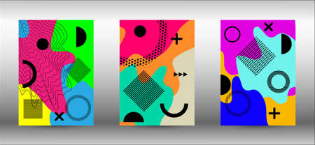 Modern memphis background set covers, great design for any purposes. Colorful trendy illustration.  Minimal geometric shape. Creative vector banner illustration. Иллюстрация