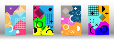 Modern memphis background set covers, great design for any purposes. Colorful trendy illustration.  Brochure creative design. Creative vector banner illustration.