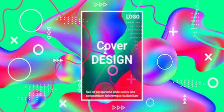 Beautiful  design poster 3d, great design for any purposes. Bright smooth mesh is blurred by a futuristic pattern in pink, blue, green, yellow, purple tones. Trendy creative vector cosmic gradient. Illusztráció