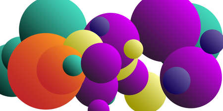 Trendy abstract business card with gradients of balls shapes on background.  Creative geometric wallpaper. Vector 3d illustration.  Abstract geometric background design.