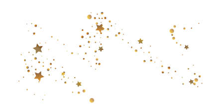Star confetti. Golden casual confetti background. Bright design pattern. Vector  template with gold stars. Suitable for your design, cards, invitations, gift, vip. Çizim