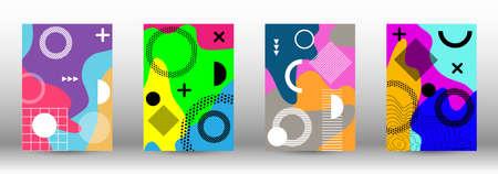 Modern memphis background set covers, great design for any purposes. Trendy abstract vector illustration. Minimal geometric shape. Creative vector banner illustration. Illusztráció