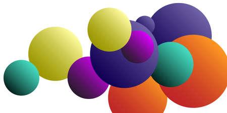 Ball shape gradients.  Multicolored balls for design 3D illustration.  Magazine style. Vector clip art. Illusztráció