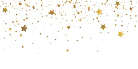 Star confetti. Golden casual confetti background. Bright design pattern. Vector  template with gold stars. Suitable for your design, cards, invitations, gift, vip. Illusztráció