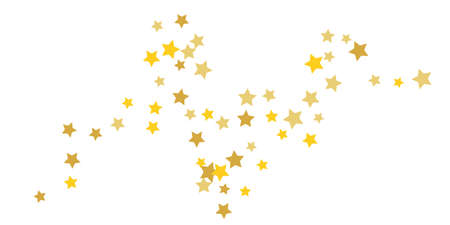 Star confetti. Golden casual confetti background. Bright design pattern. Vector white template with gold stars. Suitable for your design, cards, invitations, gift, vip.