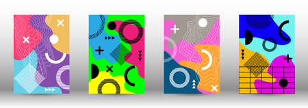 Memphis background set covers. Trendy abstract vector illustration. Brochure creative design. Creative vector banner illustration.