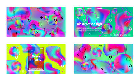 Trendy creative vector space gradient. A set of modern abstract covers. Creative fluid backgrounds from current forms to design a fashionable abstract cover, banner, poster, booklet.