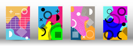 Modern abstract vector banner set. Trendy abstract vector illustration. Colorful geometric background design. Creative vector banner illustration. Illusztráció