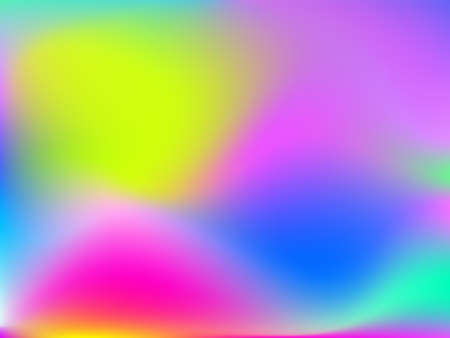 Holographic background. Bright smooth mesh blurred futuristic pattern in pink, blue, green colors. Fashionable ad vector. Intensive gradient of holographic spectrum for printed products, covers. Illusztráció