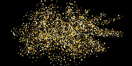 Gold dot confetti. Luxurious festive background. Abstract texture of golden grain shimmers on a black background. Design element. Vector illustration, EPS 10.