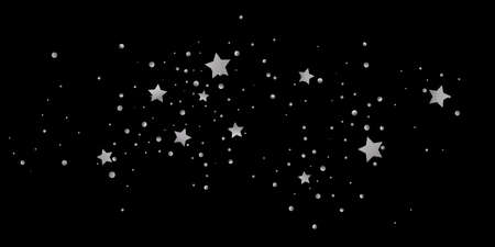Silver star of confetti. Falling starry background. Random stars shine on a black background. The dark sky with shining stars. Flying confetti. Suitable for your design, cards, invitations, gifts.
