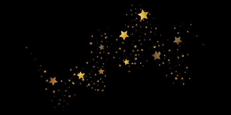 Abstract star of confetti. Falling starry background. Random stars shine on a black background. The dark sky with shining stars. Flying confetti. Suitable for your design, cards, invitations, gifts.