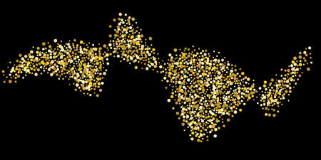 Gold dot confetti. Luxurious festive background. Abstract texture of golden grain shimmers on a black background. Design element. Vector illustration